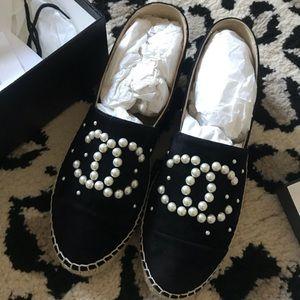 CHANEL Black Suede Pearl Espadrilles size 40